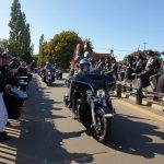 SkullDrummery provide a guard of honour as Harleys arrive at Sykes Harley venue